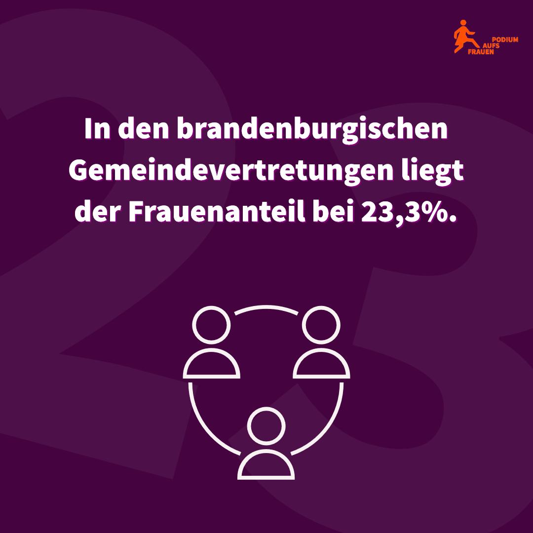 In den brandenburgischen Gemeindevertretungen liegt der Frauenanteil bei 23,3%