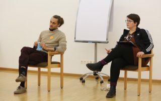 """Coach Stefan Haefner und Verena Letsch, Frauenpolitischer Rat Brandenburg, bei der Workshopreihe """"Veränderung der Strukturen"""""""