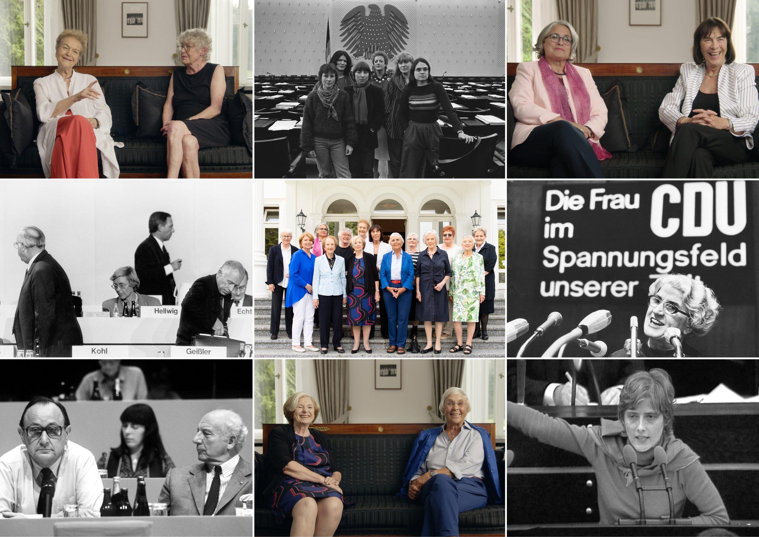 """Collage zum Film """"Die Unbeugsamen"""" von Torsten Körner mit einer Collage mehrere Frauen aus der Bonner Politik."""