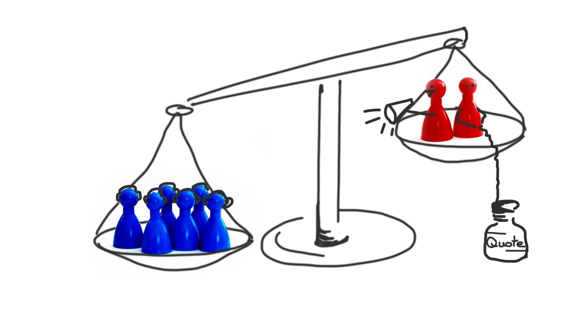 Eine Waage, auf deren linker Seite eine große Gruppe blauer Spielfiguren zu sehen sind. Auf der linken Seite sieht man zwei leichte rote Figuren, die mithilfe eines Gewichtes, auf dem Quote steht, versuchen, ein Gleichgewicht herbeizuführen.
